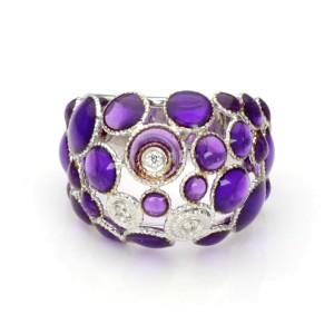 Roberto Coin Bollicine Diamond Purple Enamel 18k White Gold Dome Ring