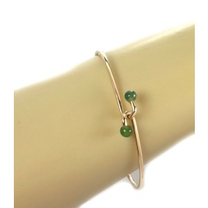 Vintage Tiffany & Co.Green Jade 14k Yellow Gold Hook Bangle
