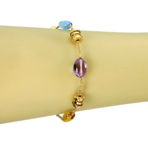 Bvlgari B.zero1 Multicolor Gems 18k Yellow Gold 7 Station Chain Bracelet