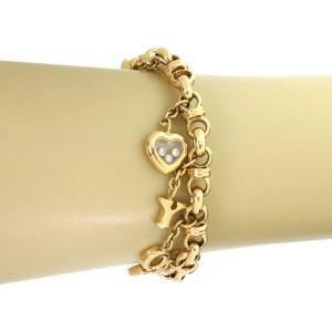 Chopped Happy Diamond 'I Love You' 18k Yellow Gold Charm Chain Bracelet