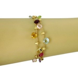 Marco Bicego Paradise Multi-Color Gems 18k Yellow Gold 2 Strand Chain Bracelet