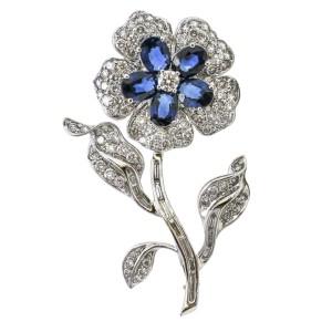 18k White Gold Diamond Sapphire Flower Brooch
