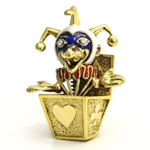 18k Yellow Gold Enamel Clown In The Box Brooch