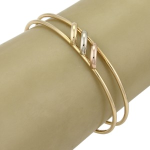 Cartier Trinity 18k Tri-Color Gold Open Double Wire Cuff Bracelet w/Paper