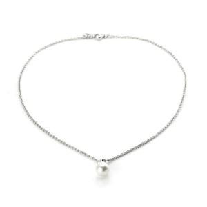 Bulgari 8.7mm Pearl Diamond 18k White Gold Pendant & Chain