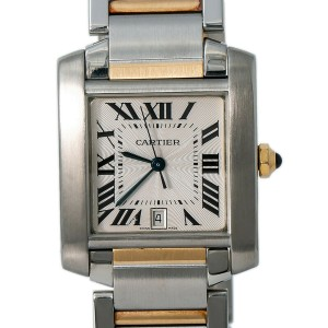 Cartier Tank Francaise 2302 W51005Q4 Mens Automatic Watch Two Tone SS 28mm