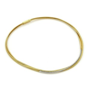 Marco Bicego Cairo Diamond 18k Two Tone Gold Triple Strand Choker Necklace