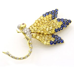 7.00 Carat 18k Gold Ruby Diamond Sapphire Dragonfly Brooch
