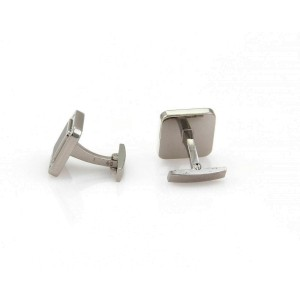 Cartier France Santos Onyx Sterling Silver Square Shape Stud Cufflinks