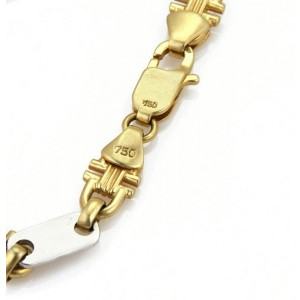 Bar & Stirrup Link 8.8mm Wide 18k Two Tone Gold  Bracelet