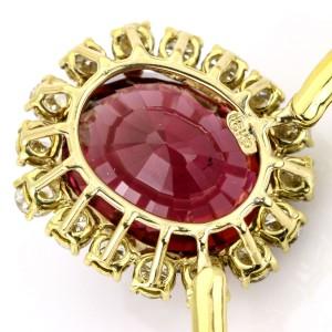 39.34 Carat 18k Yellow Gold Rubellite Tourmaline Diamond Pendant Necklace