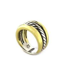 David Yuman Cable Triple Rows 18k Gold & Sterling Band Ring