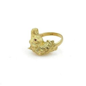 Ruby Horse Head 18k Yellow Gold Ring