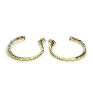 David Yurman Sterling & 18k Gold Large Cable Double Crossover Hoop Earrings