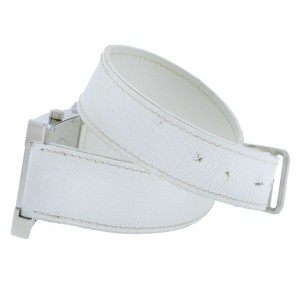 HERMES Stainless Steel Epson Leather Double-Wrap White Watch