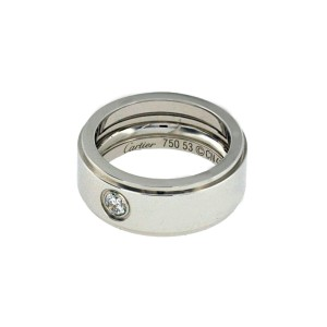 Authentic Cartier 0.15 Ct Diamond Wedding 8 mm Wide Band Ring Size 6.5 »U310