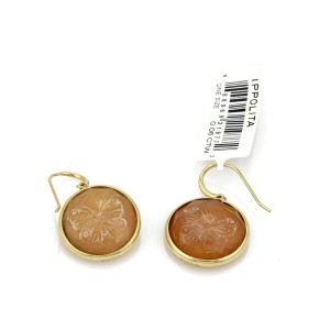 Ippolita Diamond Carved Rose Shell Cameo 18k Gold Hook Earrings