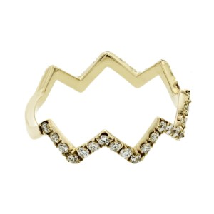 Fancy Zik Zak 14K Yellow Gold 0.52 Ct Diamonds Wedding Band Ring Size 6-8