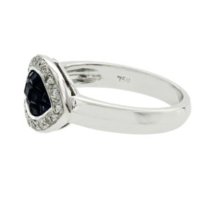 Eye 0.81 CT Sapphires & 0.28 CT Diamonds in 18K White Gold Band Ring Size 6-8
