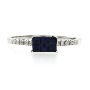 0.75 CT Blue Sapphires & 0.12 CT Diamonds 18K Gold Wedding Band Ring Size 6-8