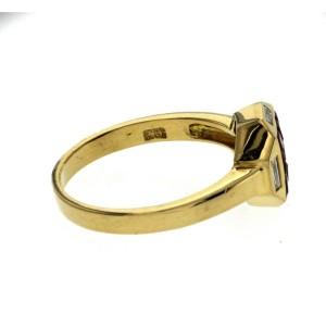 1.37 CT Ruby & 0.15 CT Diamonds 18K Yellow Gold Band Ring Size 6-8
