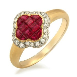 Four Leaf Clover 1.69 CT Ruby & 0.40 CT Diamonds 18K Gold Band Ring Size 6-8