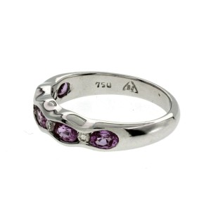 1.37 CT Pink Sapphire & 0.14 CT Diamonds 18K Gold Wedding Band Ring Size 6-7.5