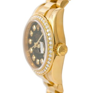 Rolex President 179138 Women's Automatic Watch 18K YG Factory Diamond Bezel 26MM