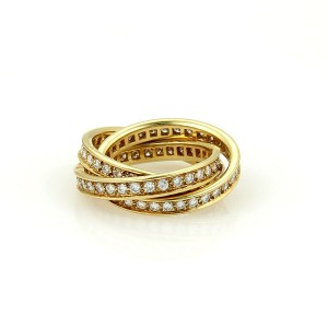 Cartier Diamond Trinity 18k Yellow Gold Band Ring French Marks Size 52 US 5