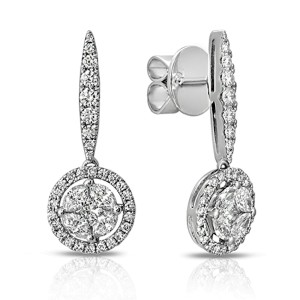 Fine 18K White Gold 1.49 Ct Natural Diamonds 25mm Round Drop Earrings