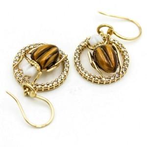 Gucci 18k Yellow Gold Tiger's Eye Agate Diamond Scarab Dangle Hook Earrings