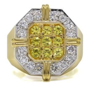 1.56 Carat 18k Yellow Gold Sapphire Diamond Ring