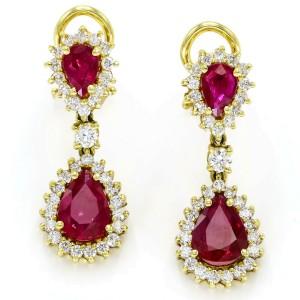 3.60 Carat 18k Yellow Gold Ruby Diamond Drop Dangle Clip-On Earrings