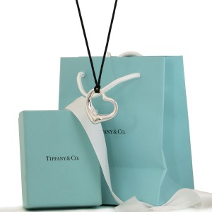 Tiffany & Co Open Heart Necklace Elsa Peretti Pendant On a Silk Cord