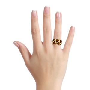 Roberto Coin Ring in 18k Yellow Gold Enamel Giraffe Band