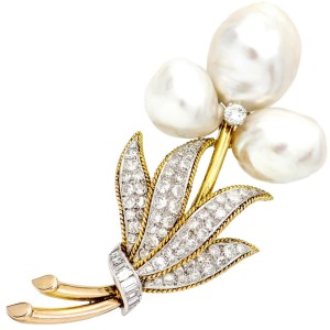 Trio Flower Brooch in 14k Yellow Gold with Pearls and Diamonds
