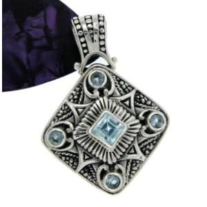 ¦925 Sterling Silver Bali Art Blue Topaz Pendant VINTAGE DESIGN!