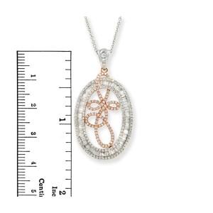 "Fancy 18K Gold 1.94 CT Diamond Art Pendant 14K Gold Chain Necklace Size 16""»N123"