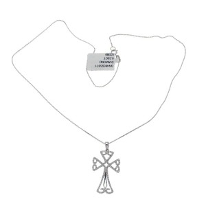"0.50 CT Diamond 18K Gold Open Cross Pendant 14K Gold Chain Necklace Size 16""»U42"