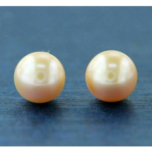 ¦14K Solid Gold Peach Freshwater 9.5 mm Pearl Stud Earring
