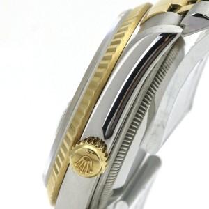 Rolex Datejust 16233 Men's Watch Dark Grey Diamond Dial 18k Gold Stainless Steel