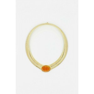 Vintage Cartier Amber Cabochon Collar Necklace 18k Yellow Gold