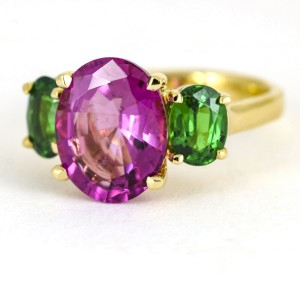 Tourmaline and Tsavorite Three Stone Cocktail Ring in 18k Yellow Gold
