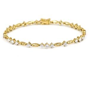 2.00 Carat Ladies Diamond Link Bracelet in 14k Yellow Gold