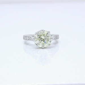 Diamond Engagement Ring Round Cuts 3.66 tcw 18K White Gold $32,000 Value