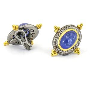 Kanaris Tanzanite Darkened Sterling Silver 18k Yellow Gold Earrings