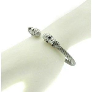 """925 STERLING SILVER STAINLESS  MULTICOLORED CZ&  BANGLE,6.5"""",»$$321"""