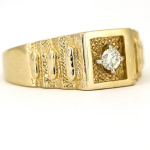 Rolex Style Textured 14k Yellow Gold Diamond Men's Ring