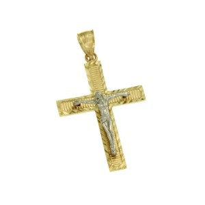 Real 14k TwoTone Gold Jesus Crucifix 39 mm Height Diamond Cut Cross Pendant »G12