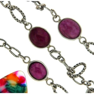 ¦925 sterling silver Ruby Bali Oval link Chain Necklace »CH15